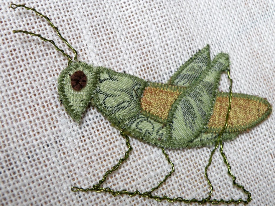 Handmade Fabric Insect Brooch -  Grasshopper - Textile Artisan Jewelry