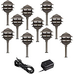 Pagoda 12-Piece Complete Outdoor LED Landscape Lighting Set - Style # 56R85