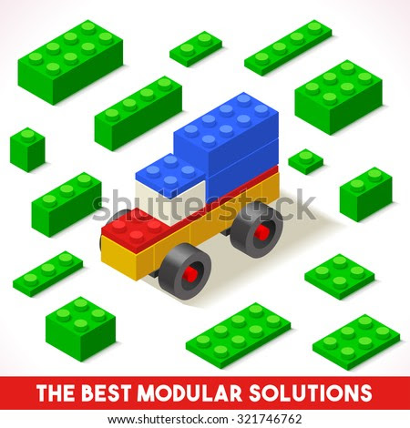 The Best Modular Solutions. Isometric Basic Car Collection. Plastic Toy Blocks and Tiles Set. HD Quality Colorful and Bright Vector Illustration for Webapps Web Advertising Template Lego or Banner