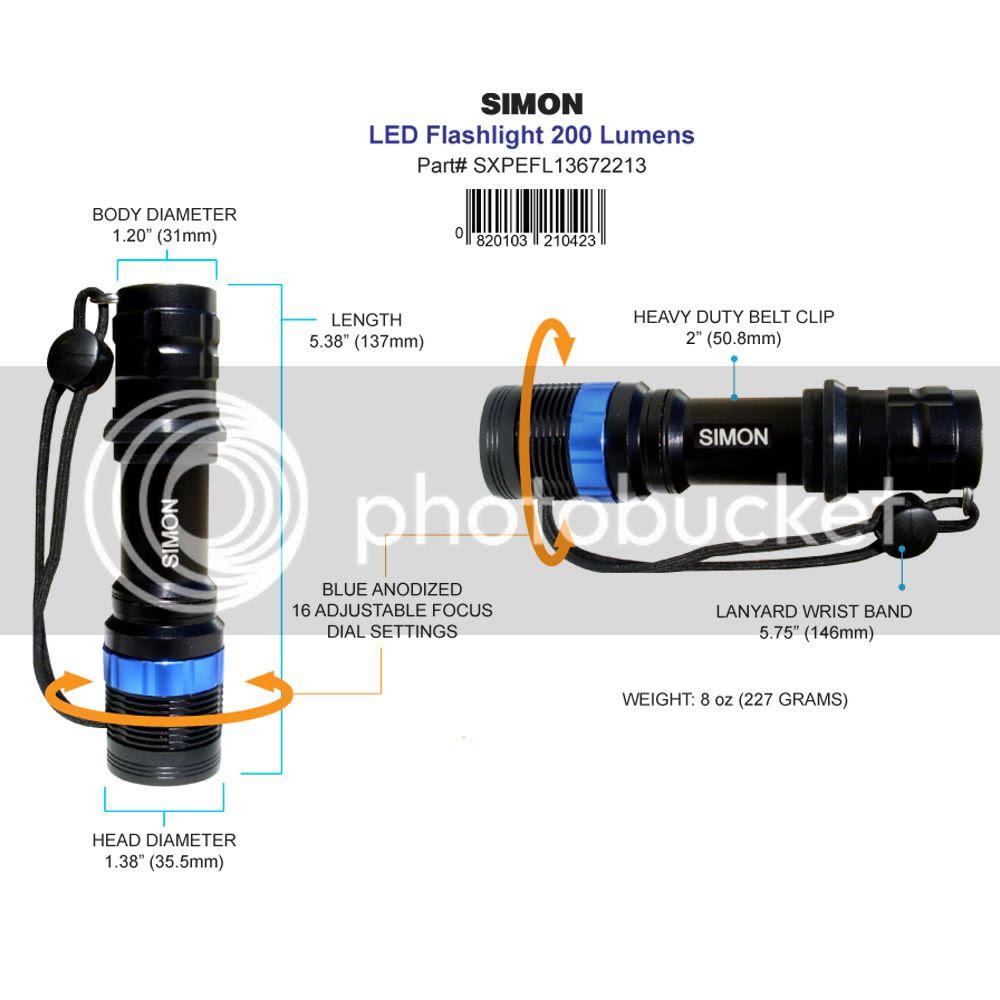 Simon Cree XPE LED Flashlight Diagram 2
