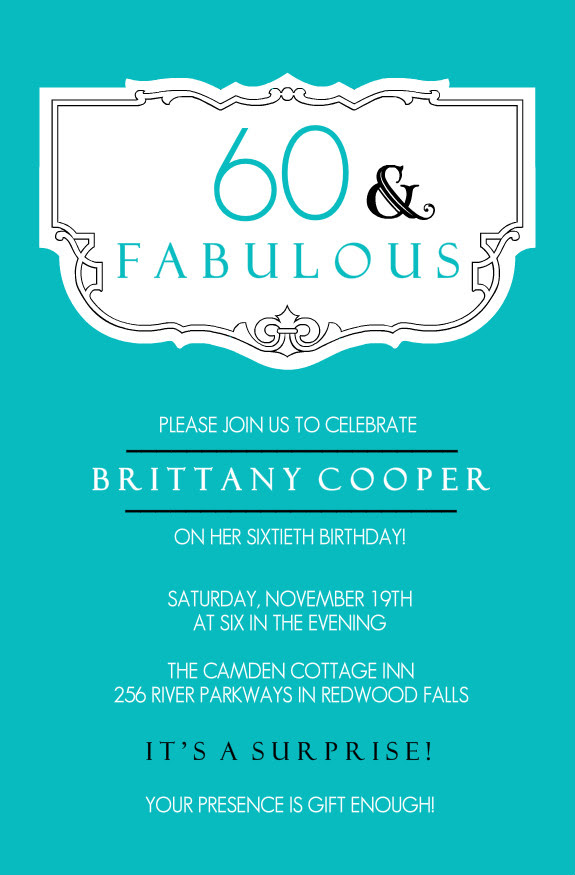 60th birthday invitation templates blank