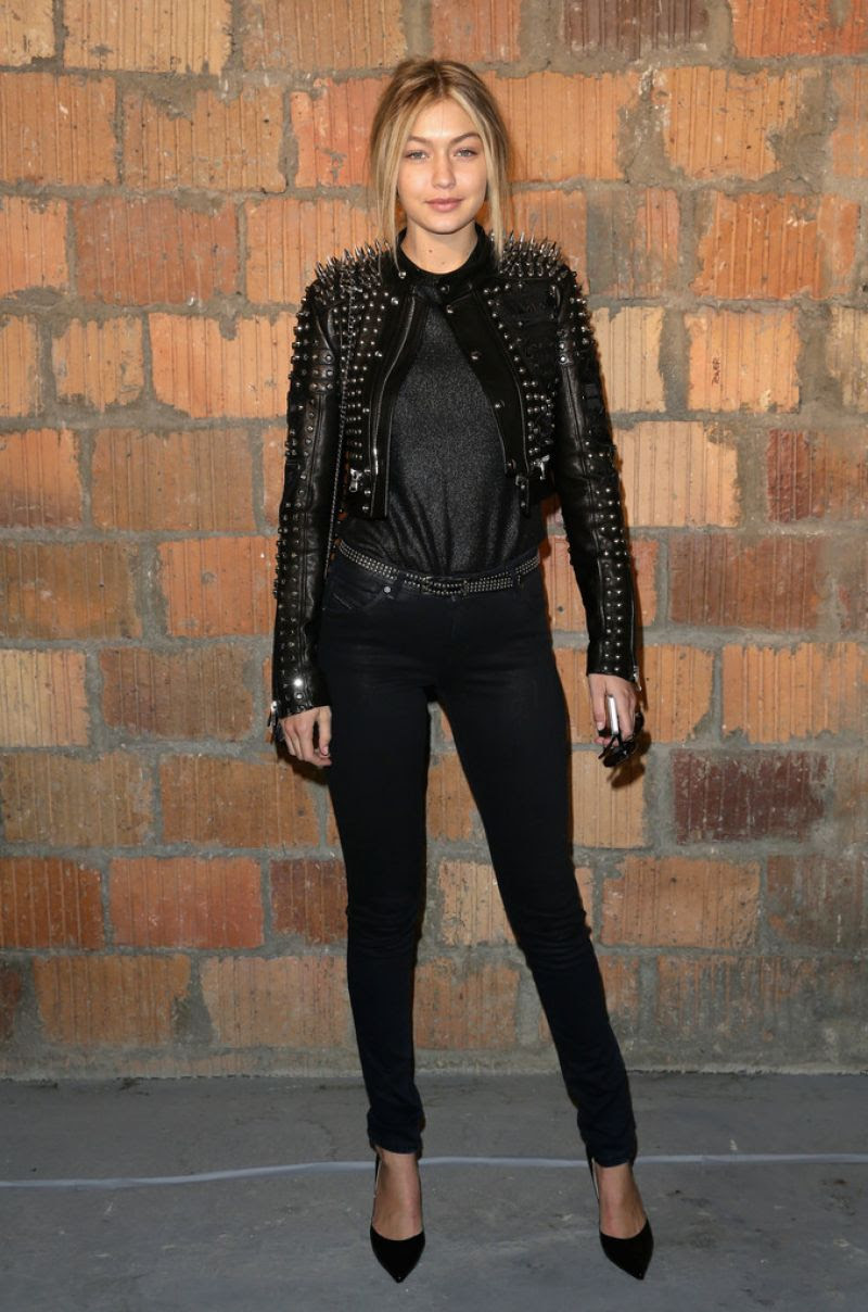 gigi hadid at diesel black gold fashion show in new york