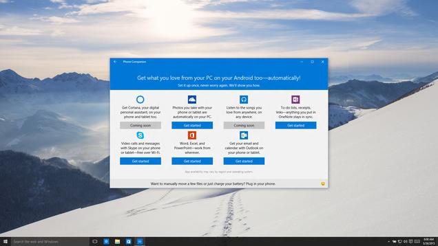 Cómo funcionará Windows 10 conectado con tu Android o iPhone