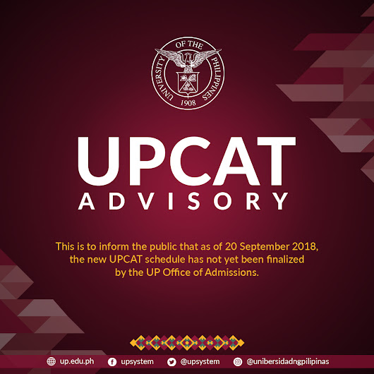 UPCAT Advisory as of September 20, 2018