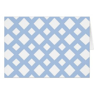 Light Blue Lattice on White Greeting Cards