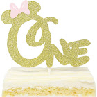 First 1st One Year Birthday Cake Topper - Gold Glitter Minnie Mouse Bow Birthday