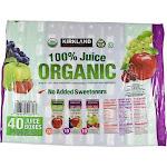 Kirkland Signature 100% Organic Juice - 40 pack, 6.75 fl oz cartons