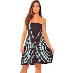 petiteRiviera Sun Strapless Tube Short Dress / Summer Dresses (Grey / Mint, Small), Women's