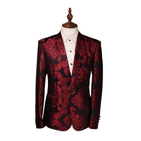 Costume Homme Flower Print Blazer Jacket Wine Red