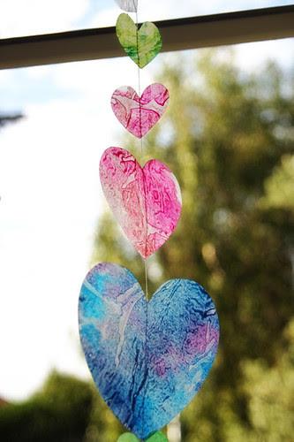 Wax paper and crayon hearts