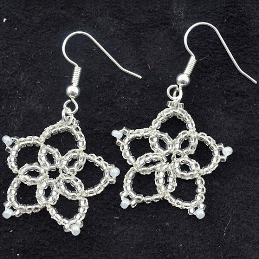 Silver Beaded Knotted Floral Pendant Earrings by HauteRevel