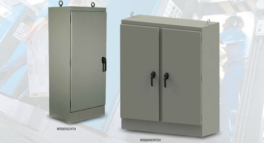 Single and double door electrical enclosures offer protection from dust, dirt, oil, and water