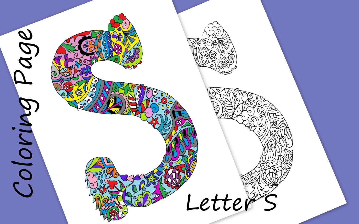 Coloring letter s | Etsy