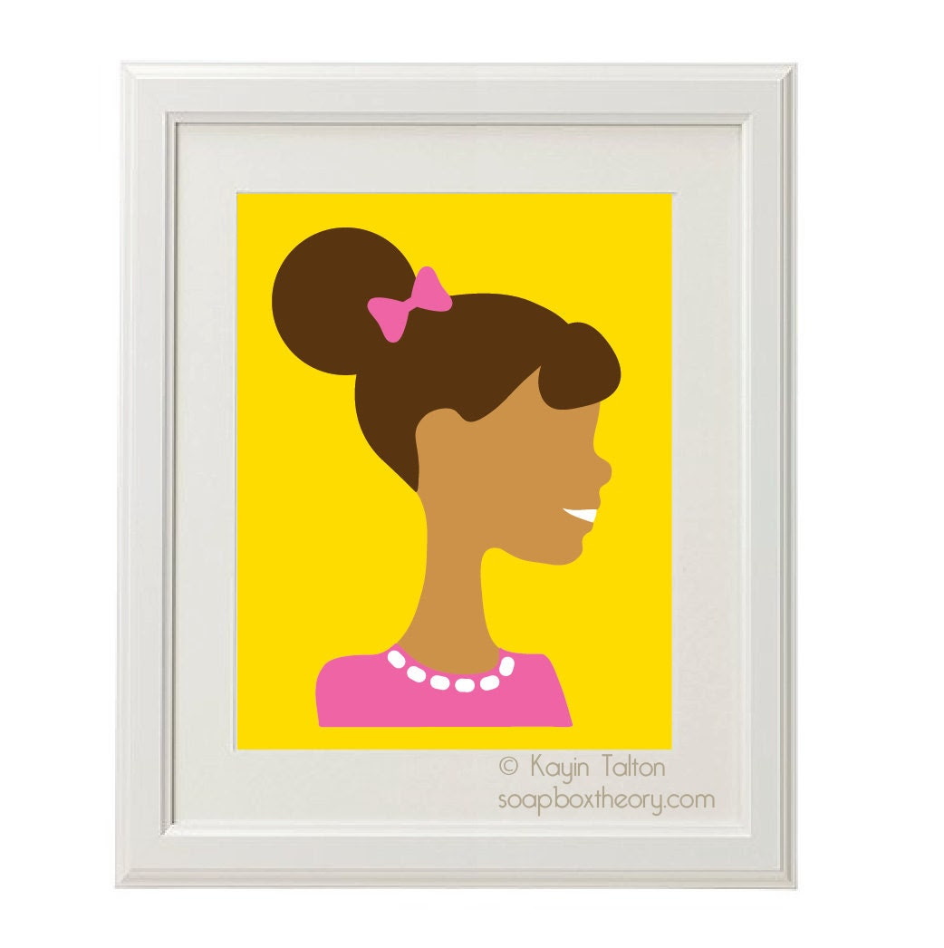 Girl in pink with afro-puff - Customized Children's art & decor