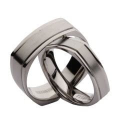 Matching Titanium Wedding Ring Sets, His and Hers Titanium