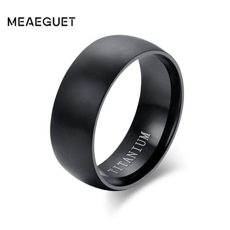 meaeguet fashion mens black titanium ring matte finished