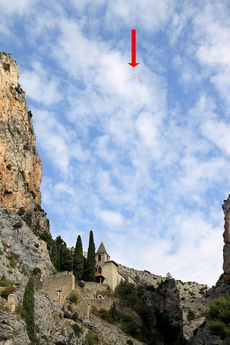 The golden star strung above the French village of Moustiers-Sainte-Marie