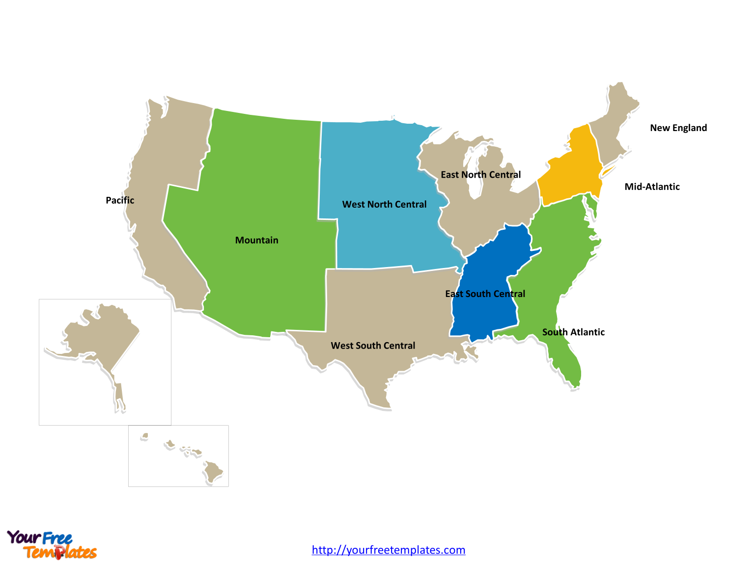 Us Map With North South East West | Time Zone Map