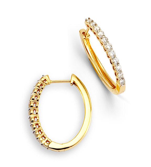 14k Yellow Gold Round Diamond Flat Prong Hoop Earrings Diamond