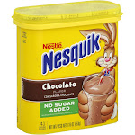 NESTLE NESQUIK No Sugar Added Chocolate Flavored Powder 16 oz. Canister