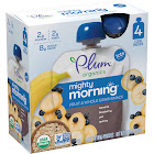 Plum Organics Morning Mish Mash Fruit & Grain Snack, Blueberry Oats & Quinoa - 4 pack, 3.17 oz pouches
