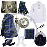 Highland Kilts Outfit Argyll of Campbell Tartan Irish Harp Accessories Set 10 pcs