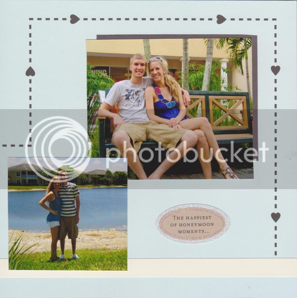 honeymoon scrapbook page {Breezy Pink Daisies}