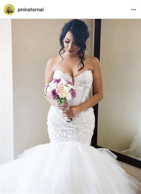 Pnina Tornai   sweetheart lace mermaid bridal gown with