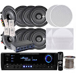 "Pyle 4 Pairs of 200W 6.25"" In-Wall / In-Ceiling Stereo White Speakers w/ 300W Digital"