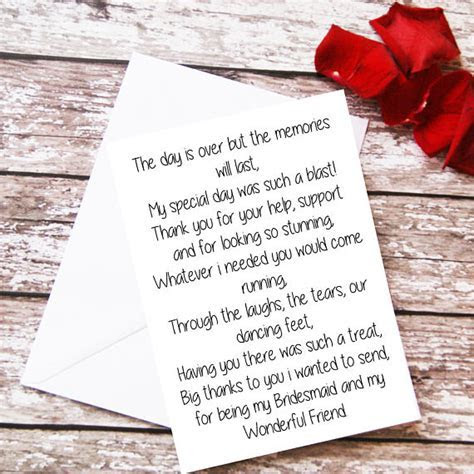 Items similar to Bridesmaid Thank You Card, Bridesmaid