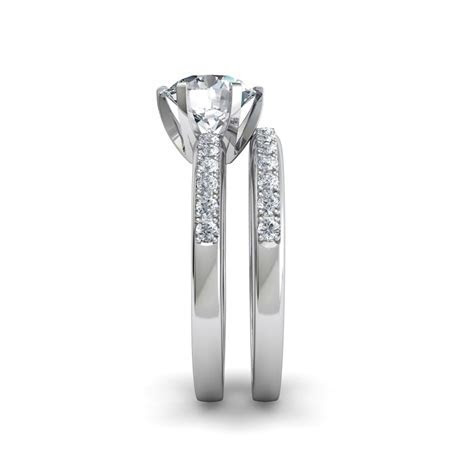Six Prong Pavé Solitaire Engagement Ring And Wedding Band