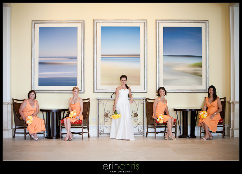 Picture of the Bride and Bridesmaids at the Sandpearl Resort in the Lobby