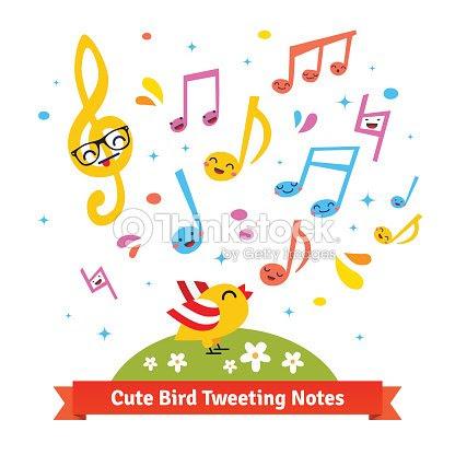 鳥ツイッターや歌のカットイラストミュージカルノート ベクトルアート