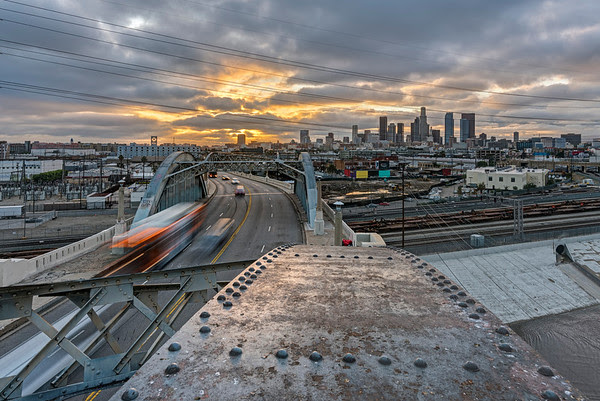 6Th street bridge sunset, Los Angeles