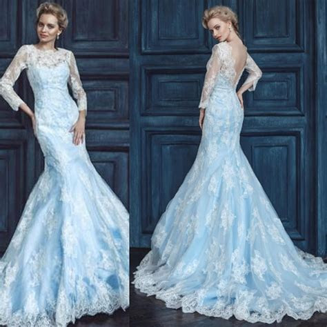 2015 Light Blue And White Wedding Dress Mermaid Sheer Crew