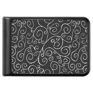 White Scrolling Curves on Black Background Power Bank