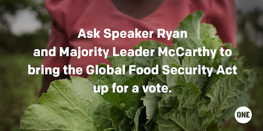 Let's get the Global Food Security Act passed out of Congress