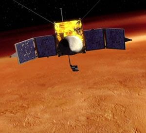 An artist's concept depicting NASA's MAVEN spacecraft studying Mars' atmosphere.