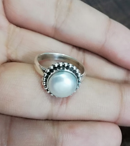 Natural Pearl Ring Sterling Silver Ring Fresh Water Ring