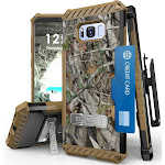 AUTUMN CAMOUFLAGE TREE CAMO REAL WOODS TRI-SHIELD RUGGED CASE with KICKSTAND + BELT CLIP HOLSTER + STRAP + CARD SLOT FOR SAMSUNG GALAXY S8 SM-G950