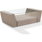 St. Augustine Outdoor Wicker Coffee Table Weathered White VE374336