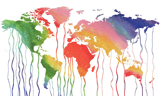 Fluid Rainbow Watercolor World Map by Irina Sztukowski