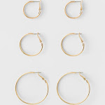 Hoop Earring Set 3ct - A New Day Gold, Women's, Size: Small