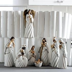 Set de 8 figuras de belén blancas de 21,5cm