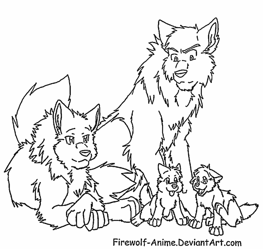 Wolf Family Lineart by Firewolf-Anime on DeviantArt