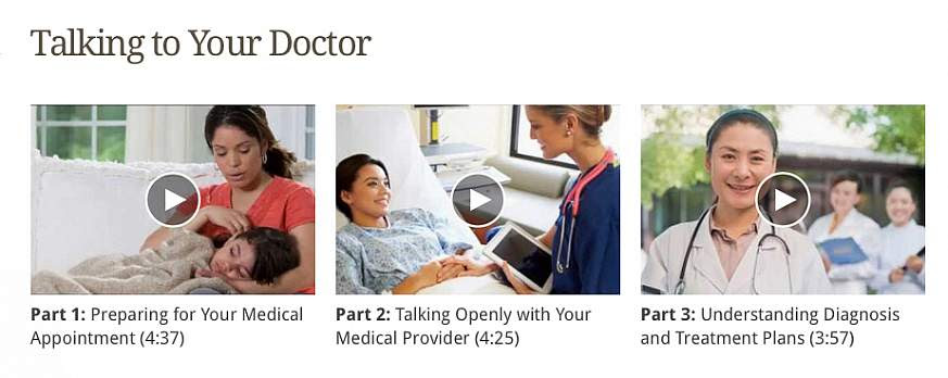 Screenshot of the Talking to Your Doctor web page.