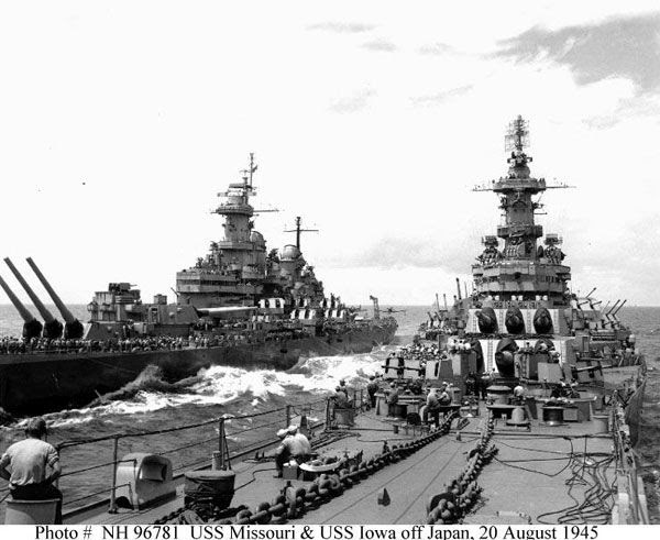 The USS Missouri and USS Iowa head to Japan following that country's surrender at the end of World War II.