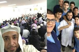 O xeque gaúcho Rodrigo Rodrigues, 38, na mesquita no Pari (SP) e com seus alunos