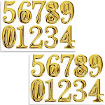 Set of 2 Gold Self-Adhesive House Number Stickers, 2 x 1.2 x 0.1 inch 3D Shape Self-sticking Label for Room, Apartment, Address, Mailboxes, Signboards