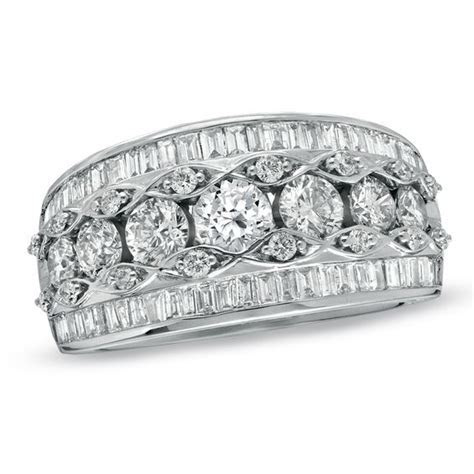2 CT. T.W. Round and Baguette Diamond Anniversary Band in